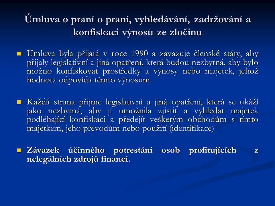 Úmluva o praní o praní, vyhledávání, zadržování a konfiskaci výnosů ze zločinu Úmluva byla přijatá v roce 1990 a zavazuje členské státy, aby přijaly l