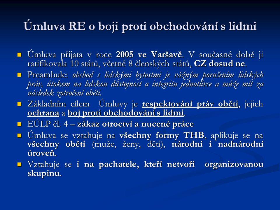 Úmluva RE o boji proti obchodování s lidmi Úmluva přijata v roce 2005 ve Varšavě. V současné době ji ratifikovala 10 států, včetně 8 členských států,