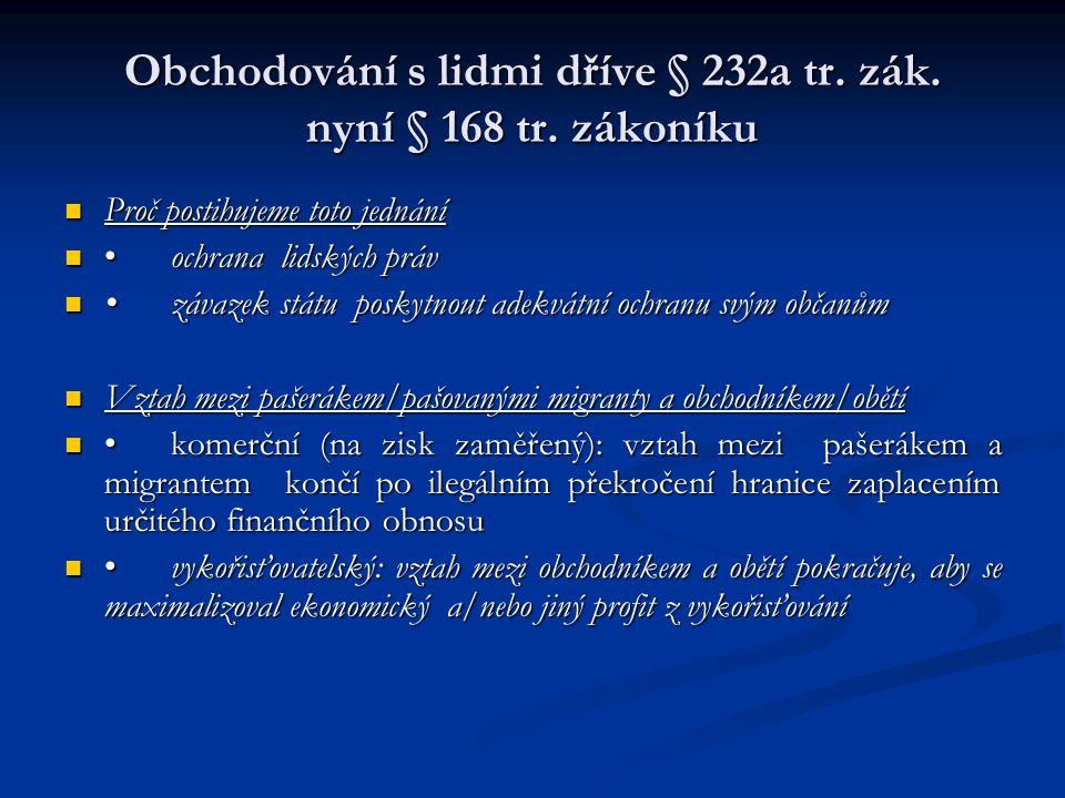 Obchodování s lidmi dříve § 232a tr. zák. nyní § 168 tr. zákoníku Proč postihujeme toto jednání Proč postihujeme toto jednání ochrana lidských právoch