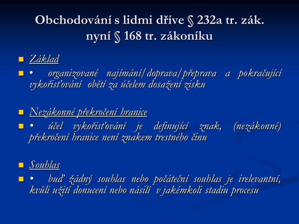 Obchodování s lidmi dříve § 232a tr. zák. nyní § 168 tr. zákoníku Základ Základ organizované najímání/doprava/přeprava a pokračující vykořisťování obě