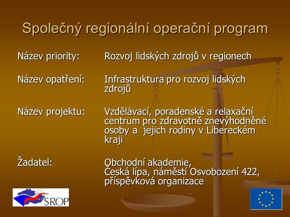 Společný regionální operační program Název priority:Rozvoj lidských zdrojů v regionech Název opatření:Infrastruktura pro rozvoj lidských zdrojů Název