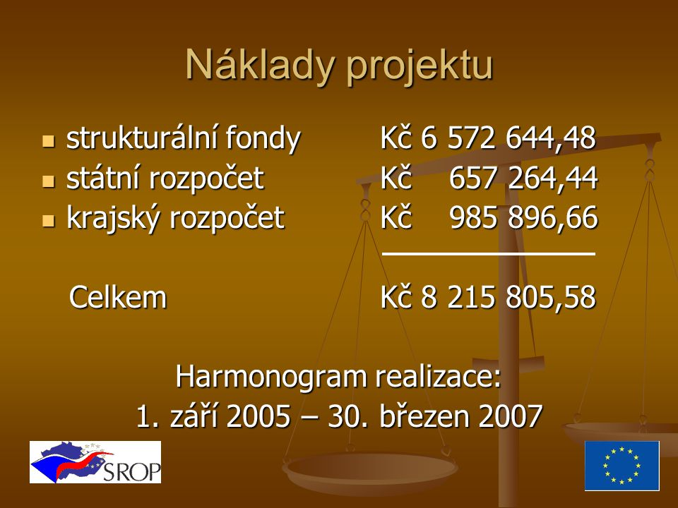 Náklady projektu strukturální fondyKč 6 572 644,48 státní rozpočetKč 657 264,44 krajský rozpočetKč 985 896,66 CelkemKč 8 215 805,58 Harmonogram realizace: 1.