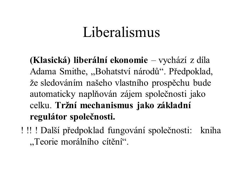 """Liberalismus (Klasická) liberální ekonomie – vychází z díla Adama Smithe, """"Bohatství národů ."""