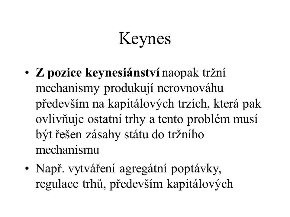 Keynes Z pozice keynesiánství naopak tržní mechanismy produkují nerovnováhu především na kapitálových trzích, která pak ovlivňuje ostatní trhy a tento problém musí být řešen zásahy státu do tržního mechanismu Např.