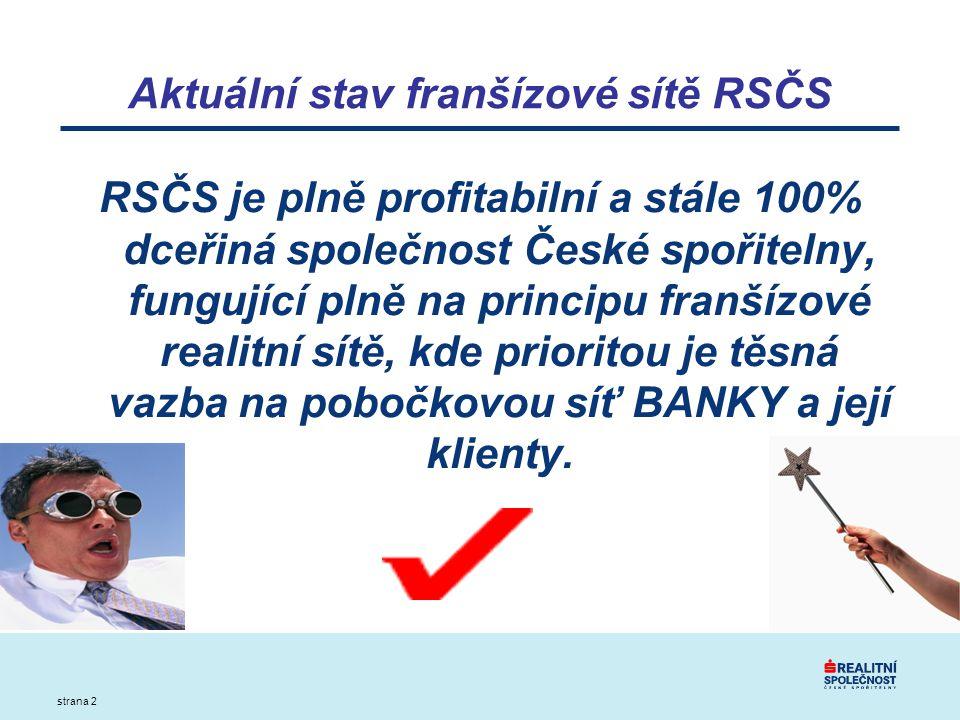 strana 2 Aktuální stav franšízové sítě RSČS RSČS je plně profitabilní a stále 100% dceřiná společnost České spořitelny, fungující plně na principu franšízové realitní sítě, kde prioritou je těsná vazba na pobočkovou síť BANKY a její klienty.
