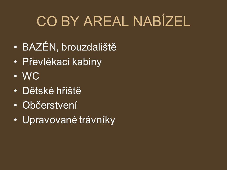 CO BY AREAL NABÍZEL BAZÉN, brouzdaliště Převlékací kabiny WC Dětské hřiště Občerstvení Upravované trávníky
