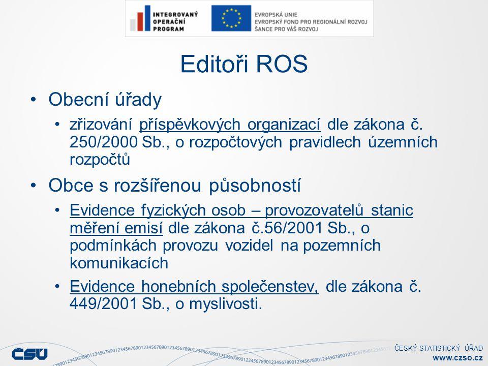 ČESKÝ STATISTICKÝ ÚŘAD www.czso.cz Editoři ROS Obecní úřady zřizování příspěvkových organizací dle zákona č.