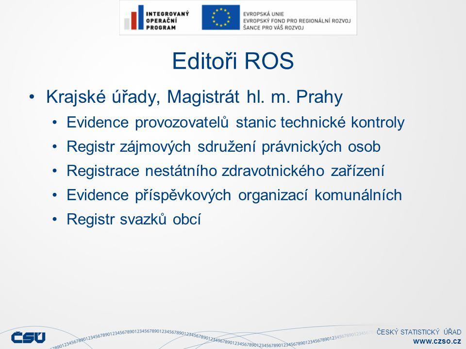 ČESKÝ STATISTICKÝ ÚŘAD www.czso.cz Editoři ROS Krajské úřady, Magistrát hl.