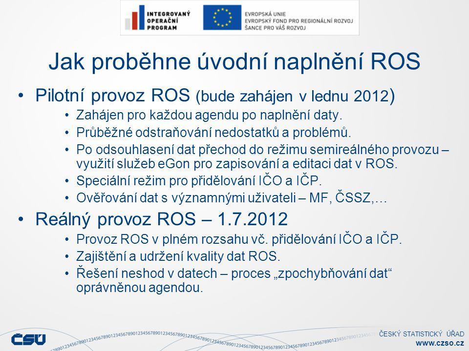 ČESKÝ STATISTICKÝ ÚŘAD www.czso.cz Jak proběhne úvodní naplnění ROS Pilotní provoz ROS (bude zahájen v lednu 2012 ) Zahájen pro každou agendu po naplnění daty.