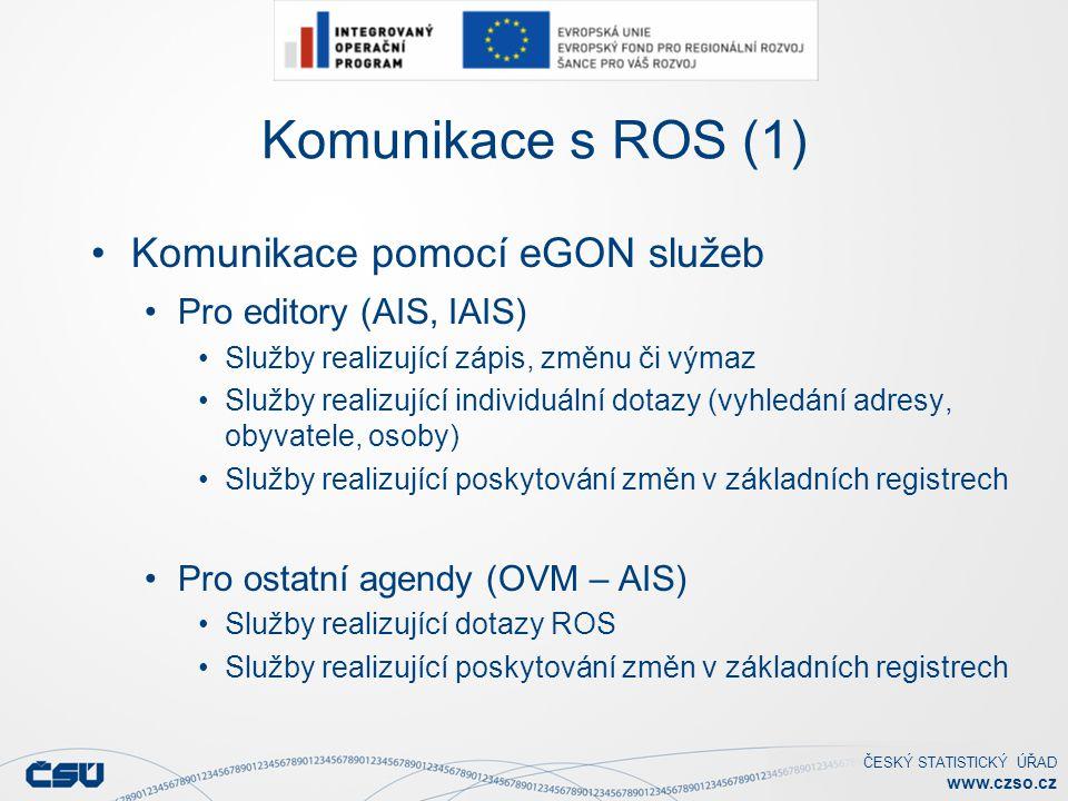 ČESKÝ STATISTICKÝ ÚŘAD www.czso.cz Komunikace s ROS (1) Komunikace pomocí eGON služeb Pro editory (AIS, IAIS) Služby realizující zápis, změnu či výmaz Služby realizující individuální dotazy (vyhledání adresy, obyvatele, osoby) Služby realizující poskytování změn v základních registrech Pro ostatní agendy (OVM – AIS) Služby realizující dotazy ROS Služby realizující poskytování změn v základních registrech
