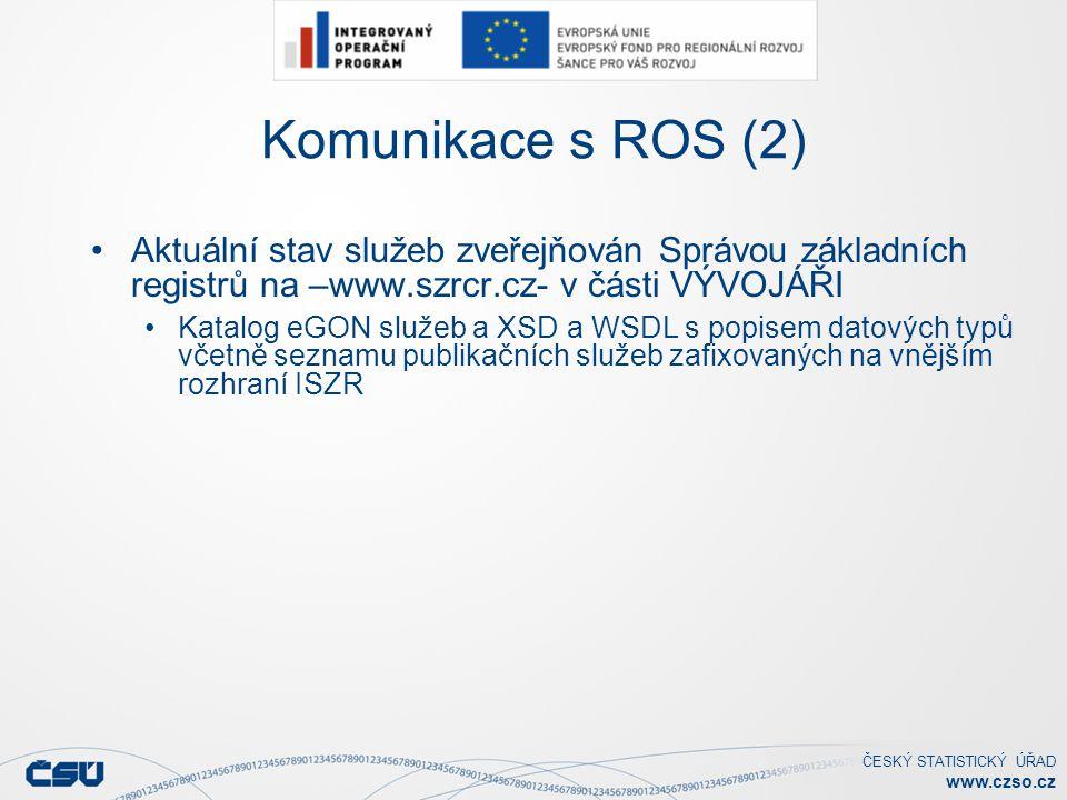 ČESKÝ STATISTICKÝ ÚŘAD www.czso.cz Komunikace s ROS (2) Aktuální stav služeb zveřejňován Správou základních registrů na –www.szrcr.cz- v části VÝVOJÁŘI Katalog eGON služeb a XSD a WSDL s popisem datových typů včetně seznamu publikačních služeb zafixovaných na vnějším rozhraní ISZR