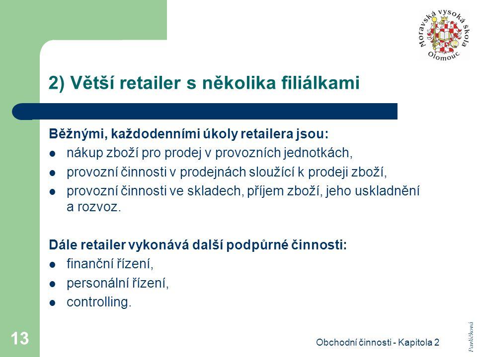 Obchodní činnosti - Kapitola 2 13 2) Větší retailer s několika filiálkami Běžnými, každodenními úkoly retailera jsou: nákup zboží pro prodej v provozních jednotkách, provozní činnosti v prodejnách sloužící k prodeji zboží, provozní činnosti ve skladech, příjem zboží, jeho uskladnění a rozvoz.