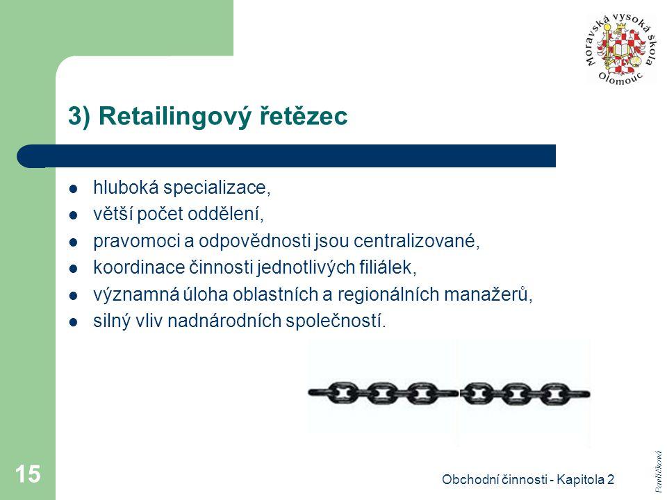 Obchodní činnosti - Kapitola 2 15 3) Retailingový řetězec hluboká specializace, větší počet oddělení, pravomoci a odpovědnosti jsou centralizované, koordinace činnosti jednotlivých filiálek, významná úloha oblastních a regionálních manažerů, silný vliv nadnárodních společností.