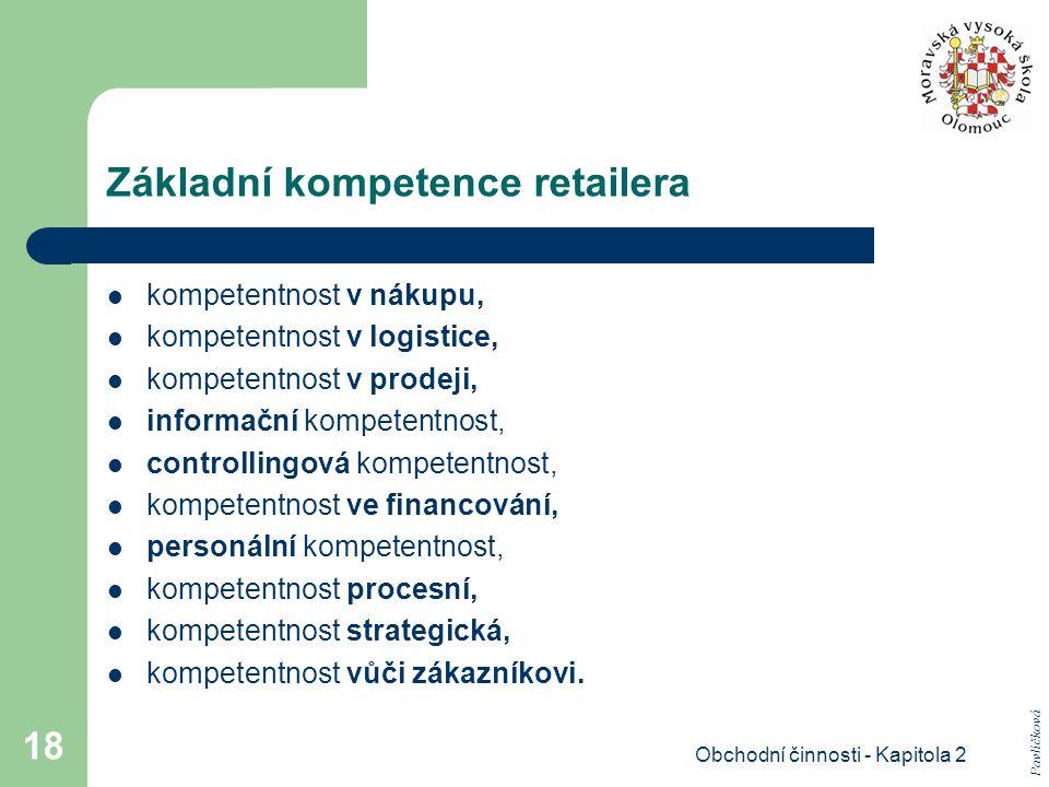 Obchodní činnosti - Kapitola 2 18 Základní kompetence retailera kompetentnost v nákupu, kompetentnost v logistice, kompetentnost v prodeji, informační kompetentnost, controllingová kompetentnost, kompetentnost ve financování, personální kompetentnost, kompetentnost procesní, kompetentnost strategická, kompetentnost vůči zákazníkovi.