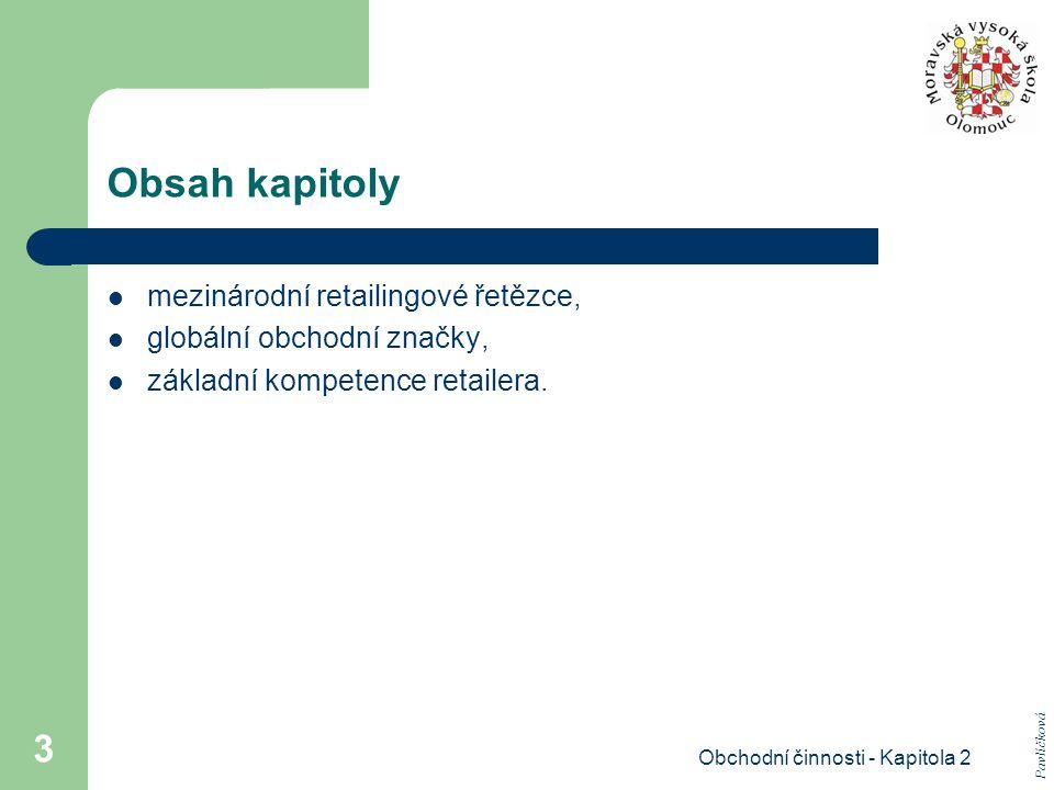 Obchodní činnosti - Kapitola 2 14 Organizační schéma filiálkové retailingové firmy.