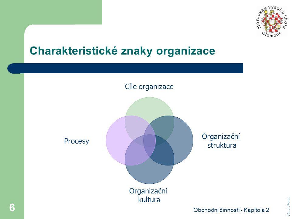 Obchodní činnosti - Kapitola 2 6 Charakteristické znaky organizace Cíle organizace Organizační struktura Organizační kultura Procesy Pavlíčková