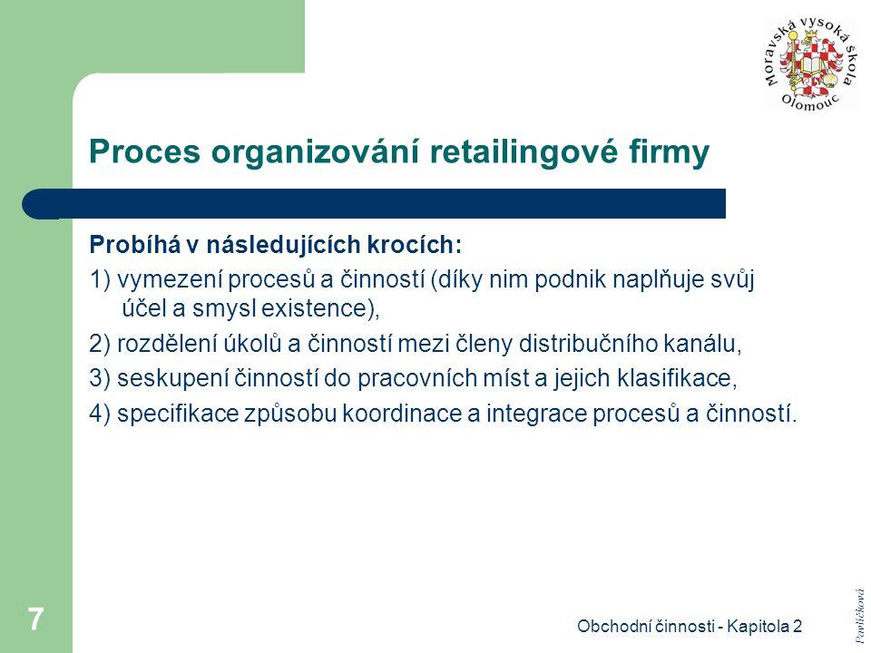 Obchodní činnosti - Kapitola 2 8 ad 1) Vymezení procesů a činností hodnota konečného produktu či poskytované služby se postupně vytváří díky tzv.: - primárním (základním) procesům, - sekundárním (podpůrným) procesům.