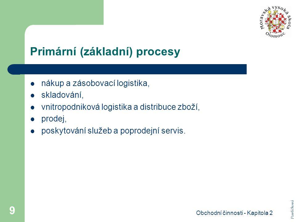 Obchodní činnosti - Kapitola 2 9 Primární (základní) procesy nákup a zásobovací logistika, skladování, vnitropodniková logistika a distribuce zboží, prodej, poskytování služeb a poprodejní servis.