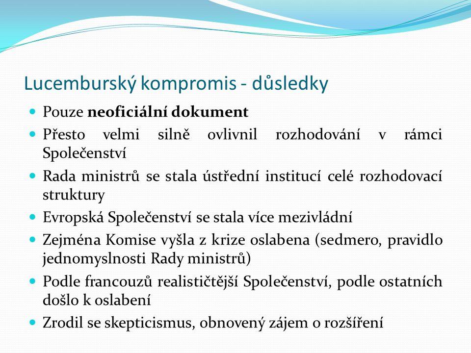 Lucemburský kompromis - důsledky Pouze neoficiální dokument Přesto velmi silně ovlivnil rozhodování v rámci Společenství Rada ministrů se stala ústřed
