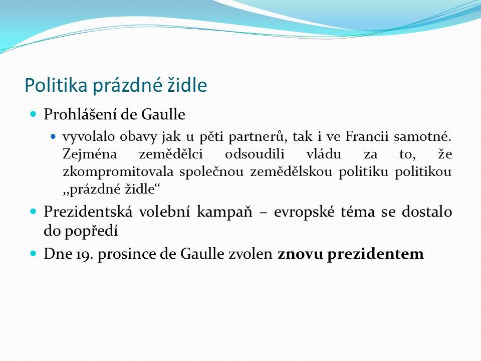 Politika prázdné židle Prohlášení de Gaulle vyvolalo obavy jak u pěti partnerů, tak i ve Francii samotné. Zejména zemědělci odsoudili vládu za to, že