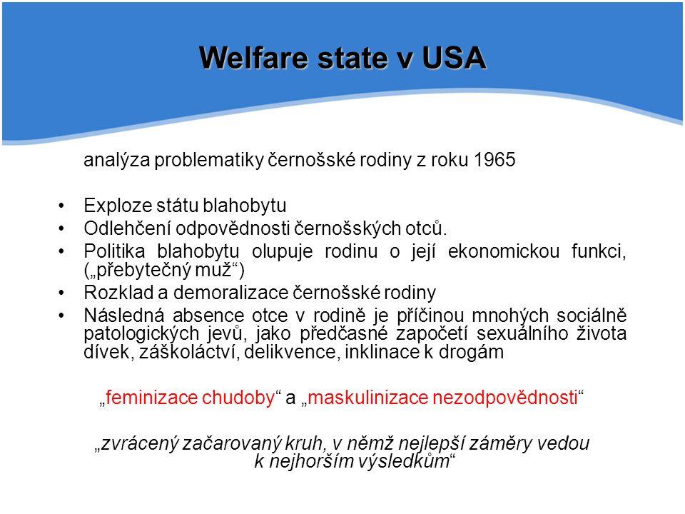 Welfare state v USA analýza problematiky černošské rodiny z roku 1965 Exploze státu blahobytu Odlehčení odpovědnosti černošských otců. Politika blahob