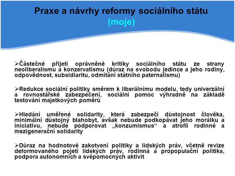 Praxe a návrhy reformy sociálního státu (moje)  Částečné přijetí oprávněné kritiky sociálního státu ze strany neoliberalismu a konzervatismu (důraz n