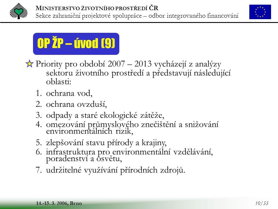 M INISTERSTVO ŽIVOTNÍHO PROSTŘEDÍ ČR Sekce zahraniční projektové spolupráce – odbor integrovaného financování 14.-15. 3. 2006, Brno 10/55 OP ŽP – úvod