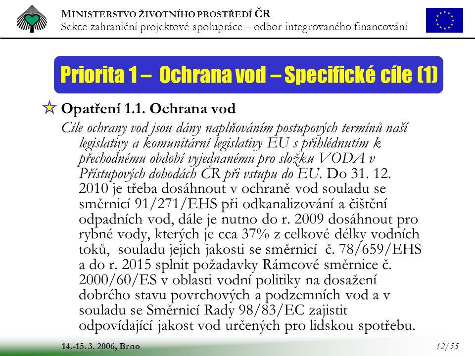 M INISTERSTVO ŽIVOTNÍHO PROSTŘEDÍ ČR Sekce zahraniční projektové spolupráce – odbor integrovaného financování 14.-15. 3. 2006, Brno 12/55 Opatření 1.1