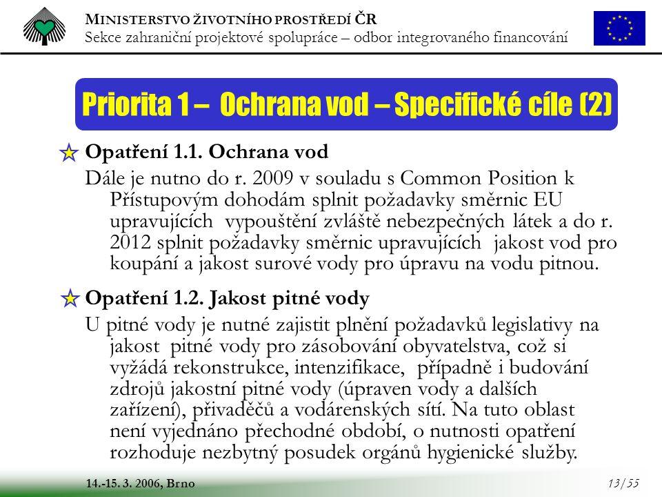 M INISTERSTVO ŽIVOTNÍHO PROSTŘEDÍ ČR Sekce zahraniční projektové spolupráce – odbor integrovaného financování 14.-15. 3. 2006, Brno 13/55 Opatření 1.1