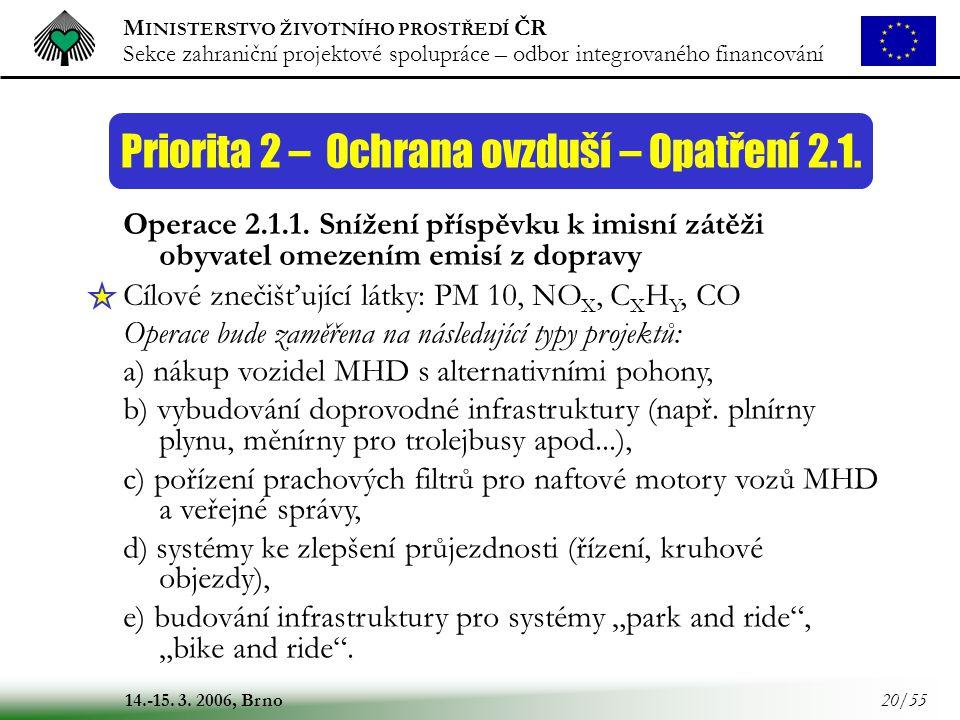 M INISTERSTVO ŽIVOTNÍHO PROSTŘEDÍ ČR Sekce zahraniční projektové spolupráce – odbor integrovaného financování 14.-15. 3. 2006, Brno 20/55 Priorita 2 –