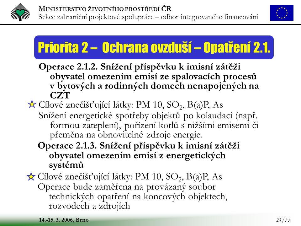 M INISTERSTVO ŽIVOTNÍHO PROSTŘEDÍ ČR Sekce zahraniční projektové spolupráce – odbor integrovaného financování 14.-15. 3. 2006, Brno 21/55 Priorita 2 –
