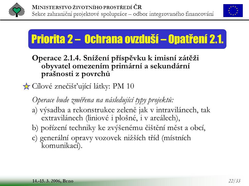 M INISTERSTVO ŽIVOTNÍHO PROSTŘEDÍ ČR Sekce zahraniční projektové spolupráce – odbor integrovaného financování 14.-15. 3. 2006, Brno 22/55 Priorita 2 –