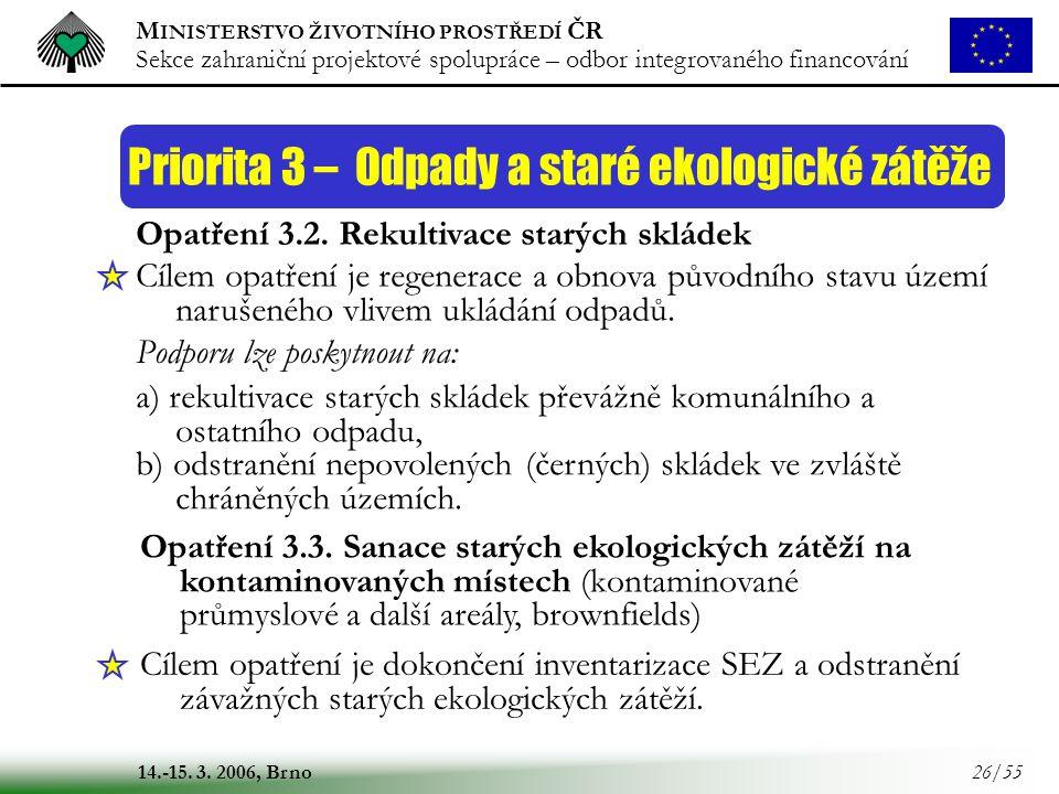 M INISTERSTVO ŽIVOTNÍHO PROSTŘEDÍ ČR Sekce zahraniční projektové spolupráce – odbor integrovaného financování 14.-15. 3. 2006, Brno 26/55 Priorita 3 –