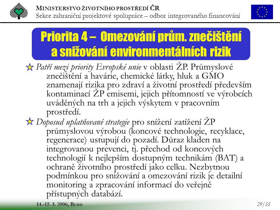 M INISTERSTVO ŽIVOTNÍHO PROSTŘEDÍ ČR Sekce zahraniční projektové spolupráce – odbor integrovaného financování 14.-15. 3. 2006, Brno 29/55 Priorita 4 –