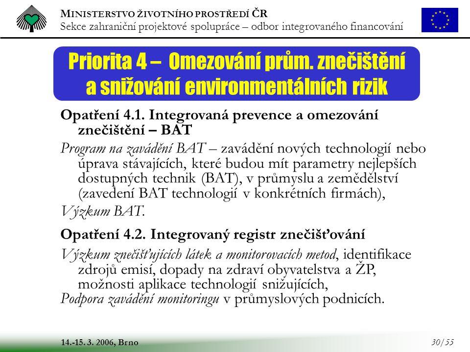 M INISTERSTVO ŽIVOTNÍHO PROSTŘEDÍ ČR Sekce zahraniční projektové spolupráce – odbor integrovaného financování 14.-15. 3. 2006, Brno 30/55 Priorita 4 –