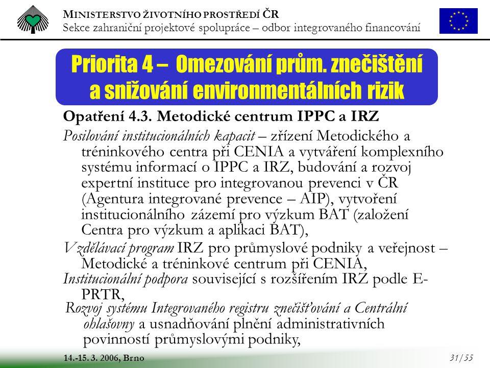 M INISTERSTVO ŽIVOTNÍHO PROSTŘEDÍ ČR Sekce zahraniční projektové spolupráce – odbor integrovaného financování 14.-15. 3. 2006, Brno 31/55 Priorita 4 –