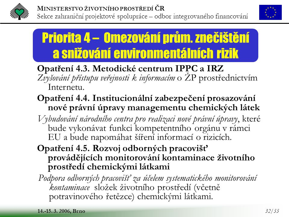 M INISTERSTVO ŽIVOTNÍHO PROSTŘEDÍ ČR Sekce zahraniční projektové spolupráce – odbor integrovaného financování 14.-15. 3. 2006, Brno 32/55 Priorita 4 –