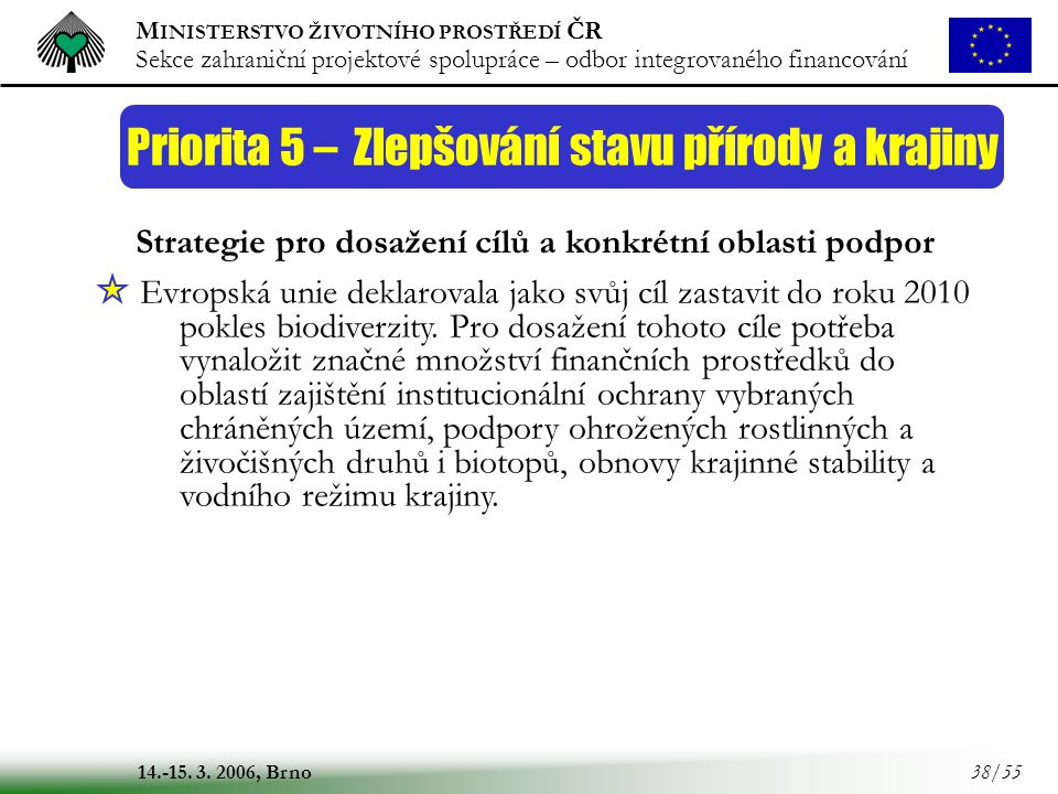 M INISTERSTVO ŽIVOTNÍHO PROSTŘEDÍ ČR Sekce zahraniční projektové spolupráce – odbor integrovaného financování 14.-15. 3. 2006, Brno 38/55 Priorita 5 –