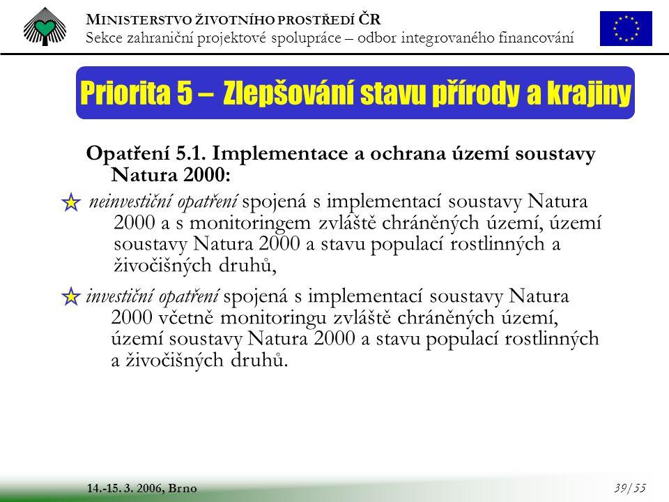 M INISTERSTVO ŽIVOTNÍHO PROSTŘEDÍ ČR Sekce zahraniční projektové spolupráce – odbor integrovaného financování 14.-15. 3. 2006, Brno 39/55 Priorita 5 –