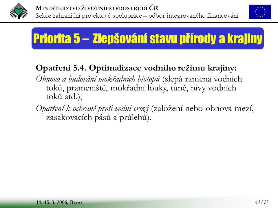 M INISTERSTVO ŽIVOTNÍHO PROSTŘEDÍ ČR Sekce zahraniční projektové spolupráce – odbor integrovaného financování 14.-15. 3. 2006, Brno 43/55 Priorita 5 –
