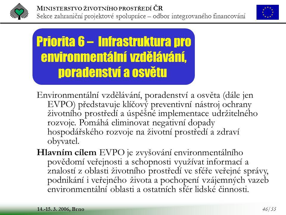 M INISTERSTVO ŽIVOTNÍHO PROSTŘEDÍ ČR Sekce zahraniční projektové spolupráce – odbor integrovaného financování 14.-15. 3. 2006, Brno 46/55 Priorita 6 –