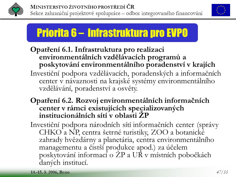 M INISTERSTVO ŽIVOTNÍHO PROSTŘEDÍ ČR Sekce zahraniční projektové spolupráce – odbor integrovaného financování 14.-15. 3. 2006, Brno 47/55 Priorita 6 –