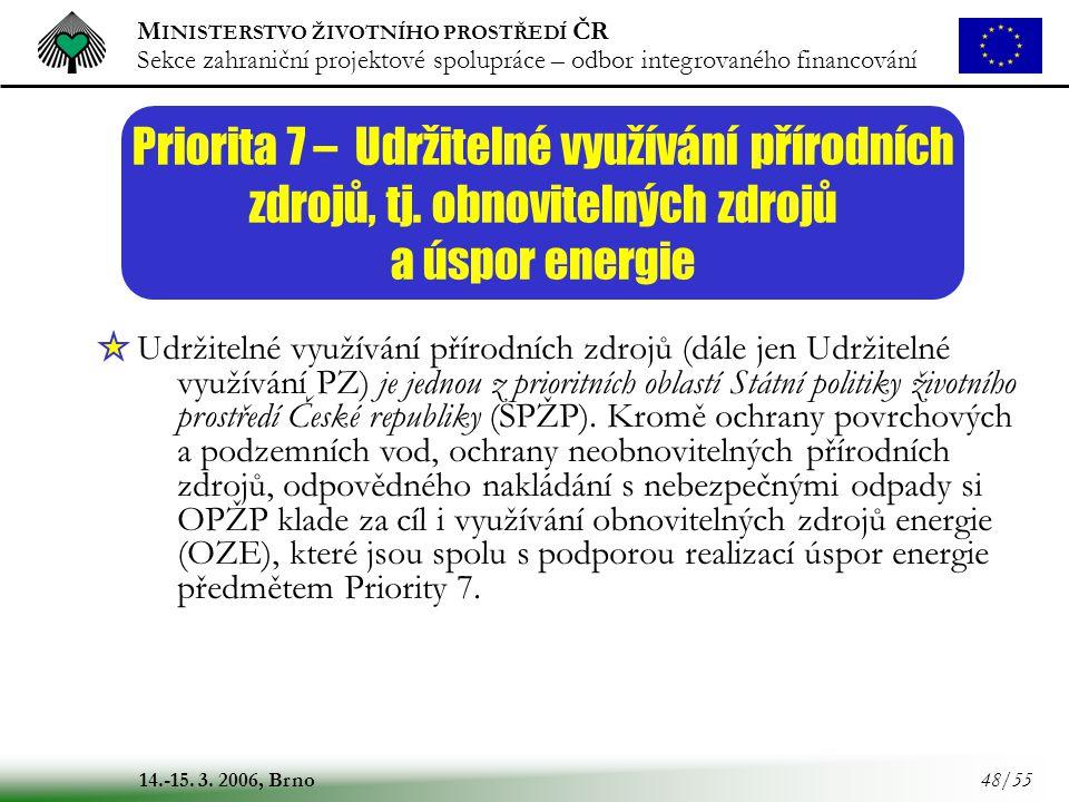 M INISTERSTVO ŽIVOTNÍHO PROSTŘEDÍ ČR Sekce zahraniční projektové spolupráce – odbor integrovaného financování 14.-15. 3. 2006, Brno 48/55 Priorita 7 –