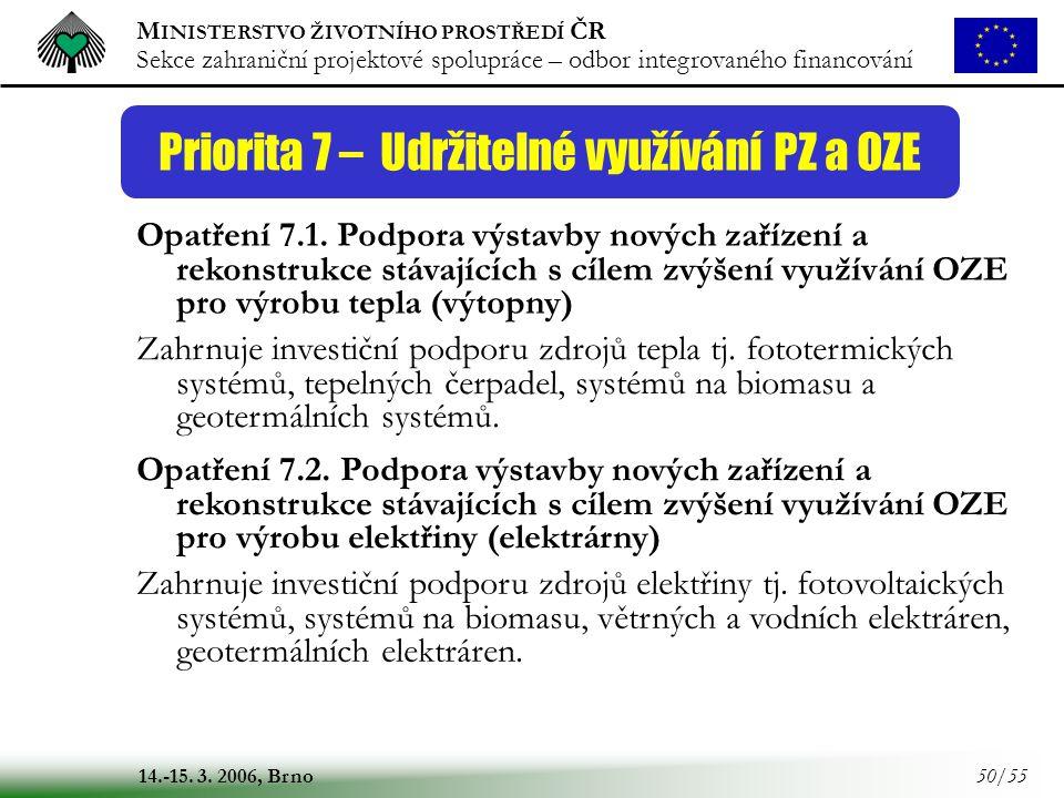M INISTERSTVO ŽIVOTNÍHO PROSTŘEDÍ ČR Sekce zahraniční projektové spolupráce – odbor integrovaného financování 14.-15. 3. 2006, Brno 50/55 Priorita 7 –