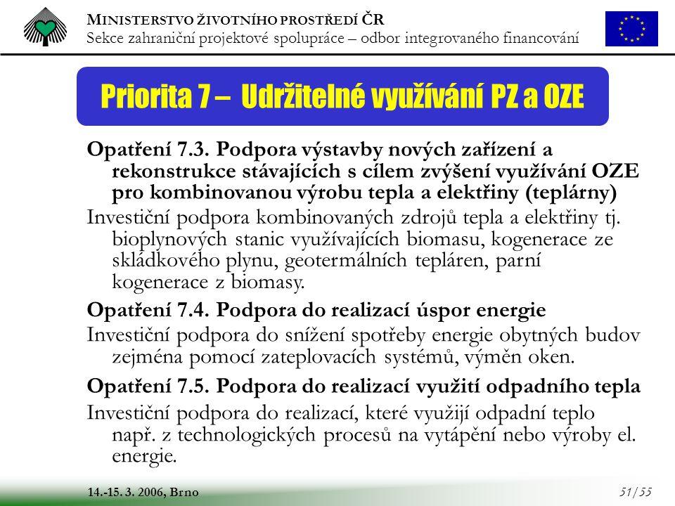 M INISTERSTVO ŽIVOTNÍHO PROSTŘEDÍ ČR Sekce zahraniční projektové spolupráce – odbor integrovaného financování 14.-15. 3. 2006, Brno 51/55 Priorita 7 –