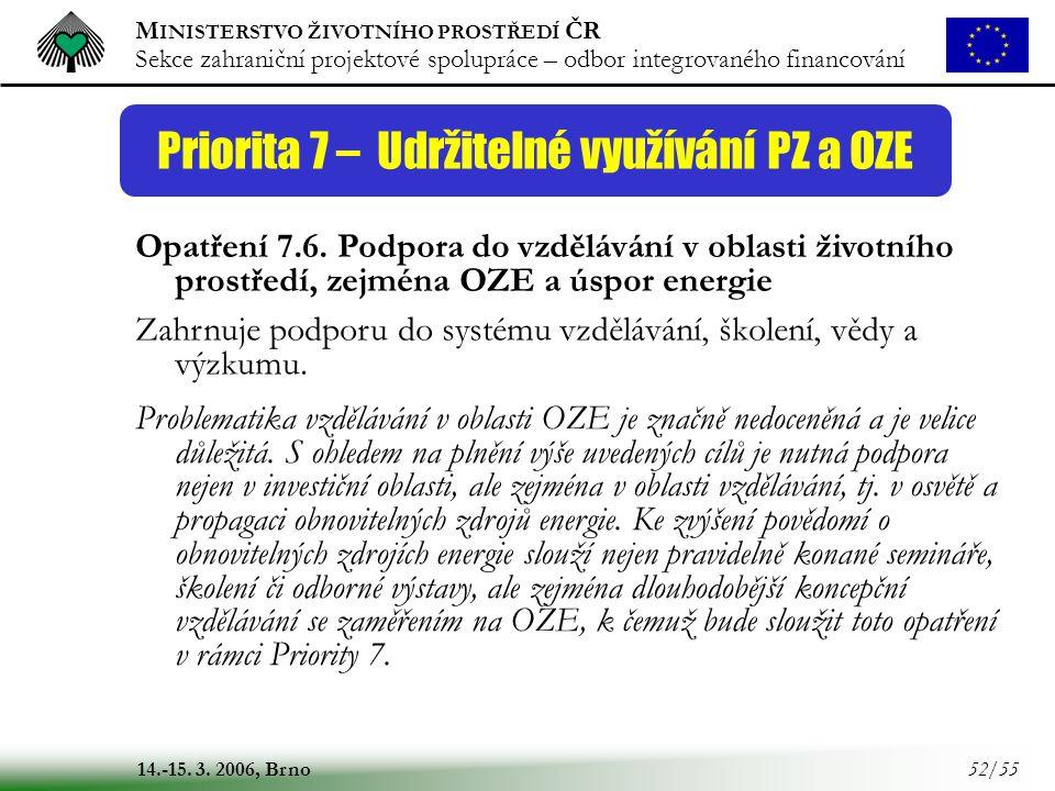 M INISTERSTVO ŽIVOTNÍHO PROSTŘEDÍ ČR Sekce zahraniční projektové spolupráce – odbor integrovaného financování 14.-15. 3. 2006, Brno 52/55 Priorita 7 –