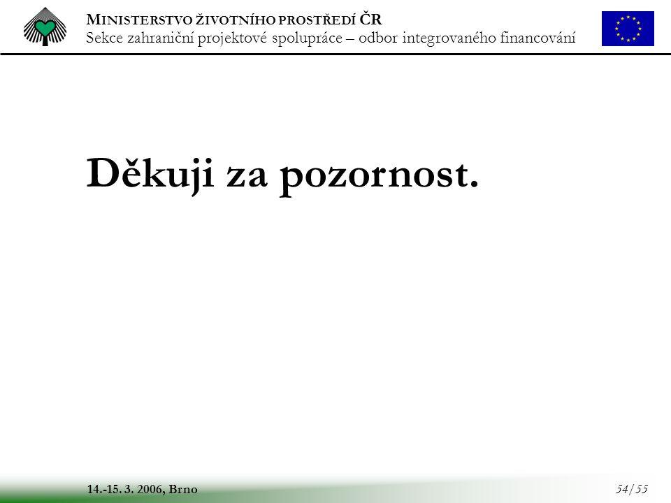 M INISTERSTVO ŽIVOTNÍHO PROSTŘEDÍ ČR Sekce zahraniční projektové spolupráce – odbor integrovaného financování 14.-15. 3. 2006, Brno 54/55 Děkuji za po