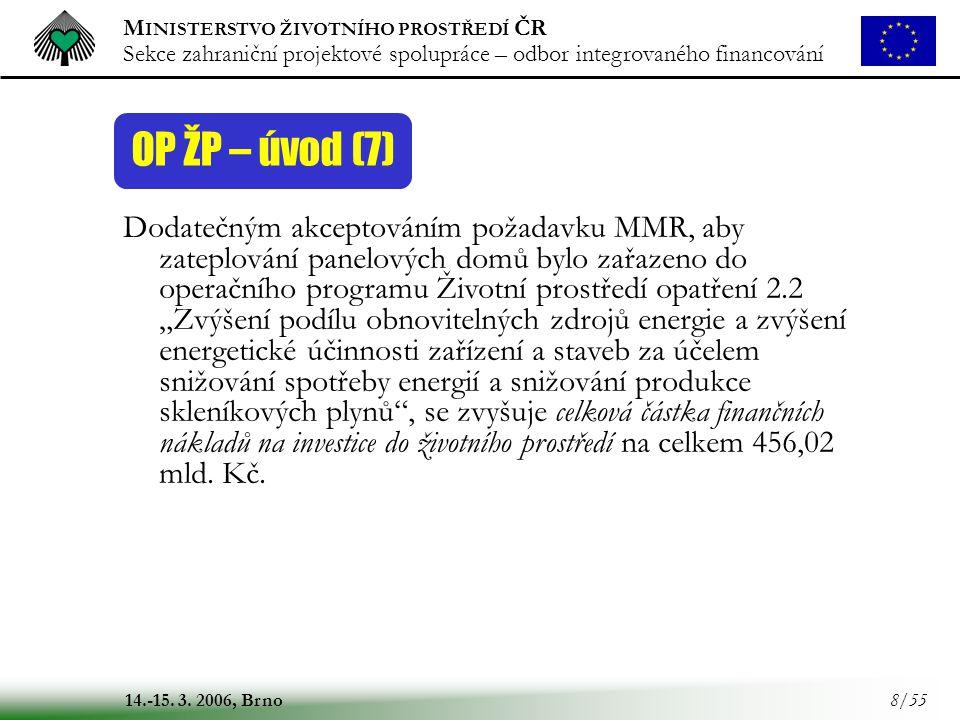 M INISTERSTVO ŽIVOTNÍHO PROSTŘEDÍ ČR Sekce zahraniční projektové spolupráce – odbor integrovaného financování 14.-15. 3. 2006, Brno 8/55 OP ŽP – úvod