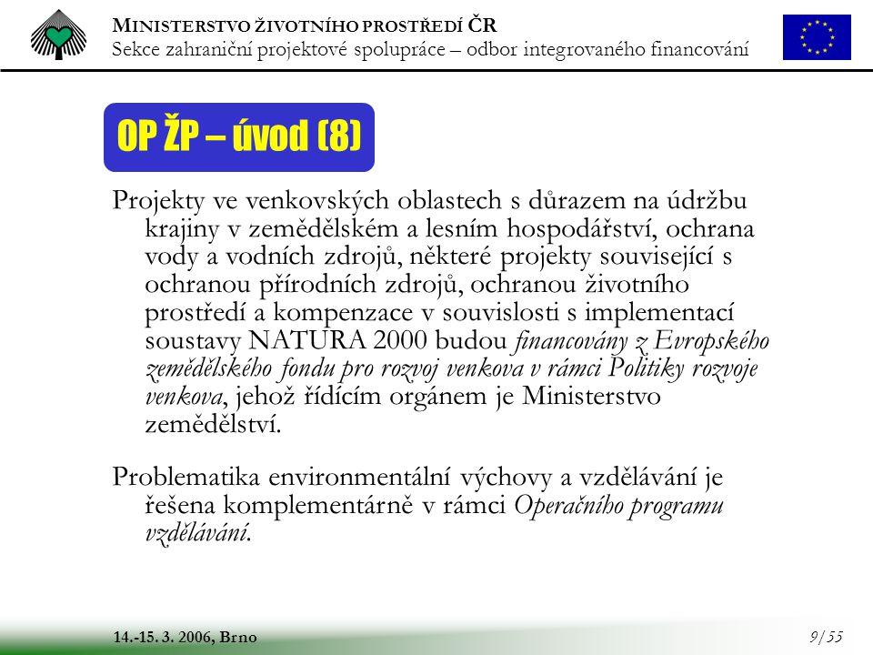 M INISTERSTVO ŽIVOTNÍHO PROSTŘEDÍ ČR Sekce zahraniční projektové spolupráce – odbor integrovaného financování 14.-15. 3. 2006, Brno 9/55 OP ŽP – úvod