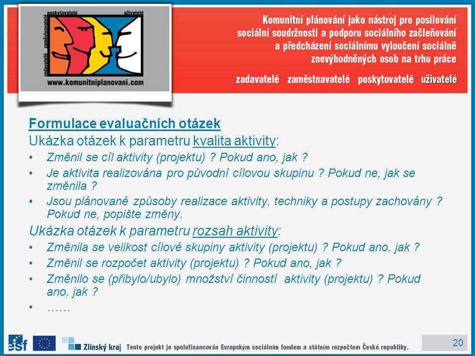 20 Formulace evaluačních otázek Ukázka otázek k parametru kvalita aktivity: Změnil se cíl aktivity (projektu) .